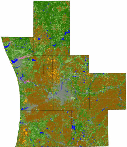 Land use of the 7 studied counties